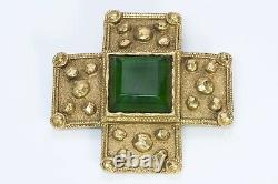 CHANEL 1980s Gripoix Byzantine Style Gold Plated Green Glass Cross Brooch