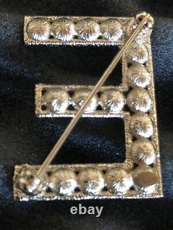 CHANEL 19B CHANEL LOGO BROOCH SET Gold Crystals 6 separate brooches BOX