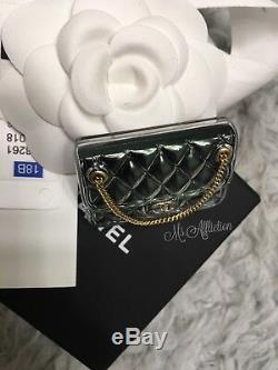 CHANEL $700 Authentic CC Classic Flap Bag Chain Gold & Céladon Brooch NWT