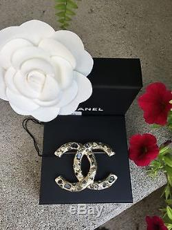 CHANEL A16 Authentic Brooch Maison Gripoix Lava Rock Pearl Crystal Pin XL with Box