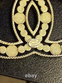 CHANEL Authentic Large Crystal Pearl CC Logo Brooch Pin Gold Tone with Box Pouc