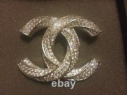 CHANEL Authentic Large Crystal Twisted CC Logo Brooch Pin Silver Tone with Box