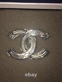 CHANEL Authentic Twisted Pearl and Crystal CC Logo Brooch Silver Tone with Box