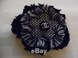 Chanel Black And White Brooch Flower With CC Logo