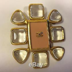 Chanel Brooch 1996 Genuine Gold Tone Pink Clear Detail