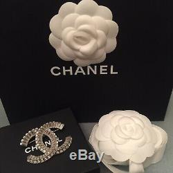 CHANEL Baguette CC Brosche Kristall Crystal Brooch Couture Logo Silber XL Strass