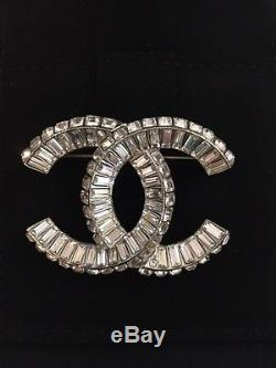 CHANEL Baguette Crystal Large CC Brooch Pin 100% Authentic With Box