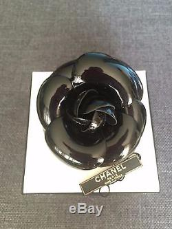 CHANEL Black Patent Leather Camellia Flower Brooch Pin Broche Colifich