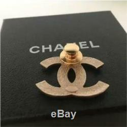 CHANEL Brooch Badge Pin Coco Mark Gold Tone Rhinestone Stamped France Authentic