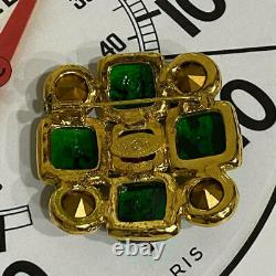 CHANEL Brooch Gold Plated Green Red Yellow Gripoix Glass Square Vintage Pin