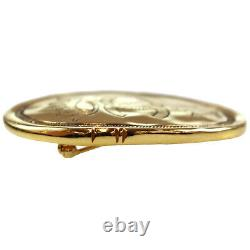 CHANEL CC Crown Motif Gold Pin Brooch Gold-Plated 2 6 France Vintage Auth #Z461