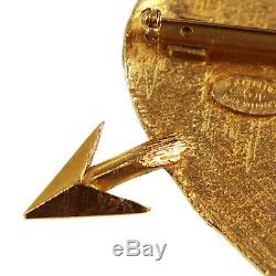 CHANEL CC Heart Arrow Pin Brooch Gold-Tone 93 P France Vintage Authentic #Z641 M