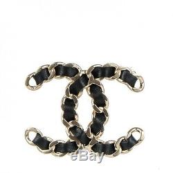 CHANEL CC Logo Gold Link Chain with Leather Pin Brooch NEW 2016 FALL Harrods