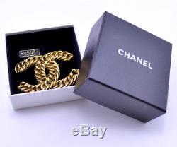 CHANEL CC Logo Jumbo Large Vintage Brooch Gold Tone Pin withBOX v661