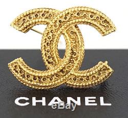 CHANEL CC Logo Vintage Brooch Gold Tone Pin withBOX #1315