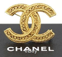 CHANEL CC Logo Vintage Brooch Gold Tone Pin withBOX #2435