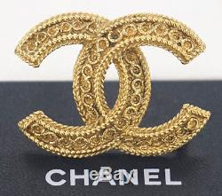 CHANEL CC Logo Vintage Brooch Gold Tone Pin withBOX #2502
