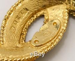 CHANEL CC Logo Vintage Brooch Gold Tone Pin withBOX v1333