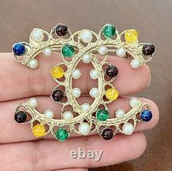 CHANEL CC Pearl Gripoix Multicolor Large Brooch Gold / F168