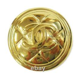 CHANEL CC Quilted Medallion Motif Brooch Pin Corsage Gold-Tone 1144 02769