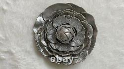 CHANEL Camellia Silver Brooch Pin with CC Studded Logo