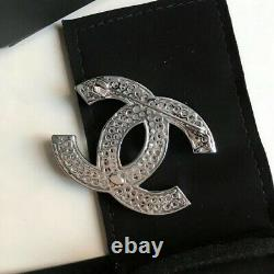 CHANEL Classic Baguette Crystal Large CC Logo Silver Tone Brooch Pin