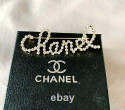CHANEL Classic CC White Crystal Signature Large Pin Brooch (VIP Gift)