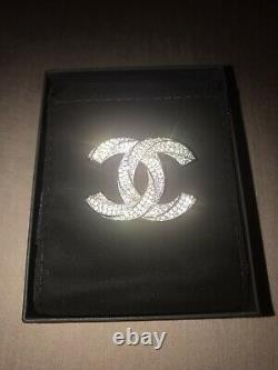 CHANEL Classic Large Twisted Crystal CC Logo Brooch Pin Silver Tone with Box