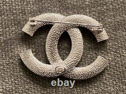 CHANEL Crystal Couture CC Brooch Large Strass Baguette Classic Silver Pin RARE