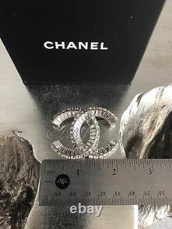 CHANEL Crystal Couture CC Brooch XL Strass Baguette Classic Pin Runway RARE NWT