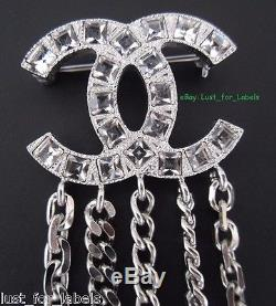 CHANEL Crystal Shield Crest Badge CC Silver Chains Double Pin Brooch NWT