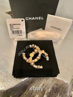 CHANEL Gold Floral CC Brooch 18C Jeweled Pearl Pin XL Camellia Flower NWT NEW