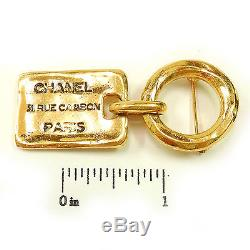 CHANEL Gold Plated CC Charm Vintage Pin Brooch #397a Rise-on