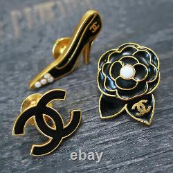 CHANEL Gold Plated CC Logos Icon Vintage Pin Brooch Badge Pins Set #154c Rise-on