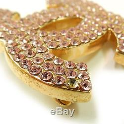 CHANEL Gold Plated CC Logos Pink Rhinestone Vintage Pin Brooch #377a Rise-on
