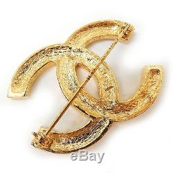 CHANEL Gold Plated CC Logos Rhinestone Vintage Pin Brooch #366a Rise-on