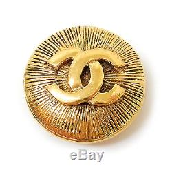 CHANEL Gold Plated CC Logos Vintage Pin Brooch #296a Rise-on