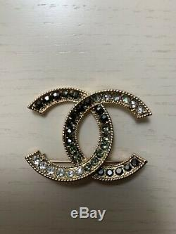 CHANEL LIGHT GOLD BROOCH/PIN WITH DIAMONTIES -AUTHENTIC Good Condition