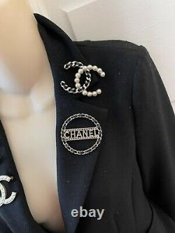 CHANEL LOGO LETTER BLACK LEATHER CHAIN BROOCH PIN LARGE Sz 2.5