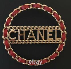 CHANEL LOGO LETTER RED LEATHER CHAIN BROOCH PIN LARGE Sz 2.5