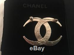 CHANEL Lady Gold Vintage Brooch Large CC Logo with Crystal Pin Original Box