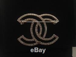 CHANEL Large CC Logo with Crystal Pin Gold Brooch with Original Box