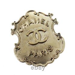 CHANEL Logos Silver Pin Brooch A14 A Silver-Plated France Vintage Auth #AC318 O