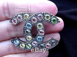 CHANEL Multi-Coloured Red Blue Green Crystal CC Logo Brooch Pin Stamped