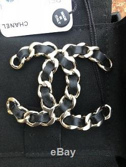 CHANEL NWT 2018 XL CC Crystal Leather Chain Brooch Pin New with Tag Authentic