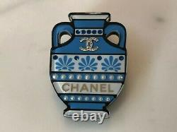 CHANEL New 2019 Resin Brooch with Embedded Pearls & Crystals of a Blue Ceramic Urn