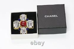 CHANEL Paris 1980s Gripoix Red Blue Glass Crystal Cross Brooch