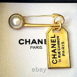 CHANEL Pearl Gold ID Dog Tag Drop Charm Brooch Pin Letter Logo 31 Rue Cambon