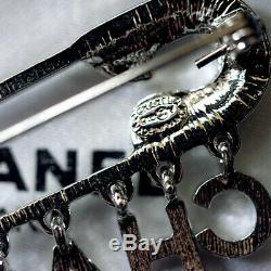 CHANEL Rhinestone Crystal Glass Pave Silver CC logo Letter Drops brooch pin