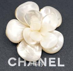 CHANEL Shell Camellia Brooch White Flower Pin 01A withBOX v1485